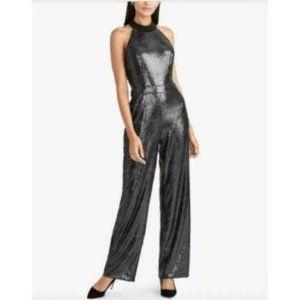 Rachel Roy  Sequin Jumpsuit, Black, Size 14